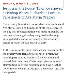 bishop dewane dedicates ave maria Oratory 2008