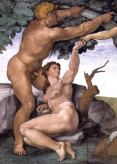 Adam and Eve before the Fall on the ceiling of the Sistine Chapel
