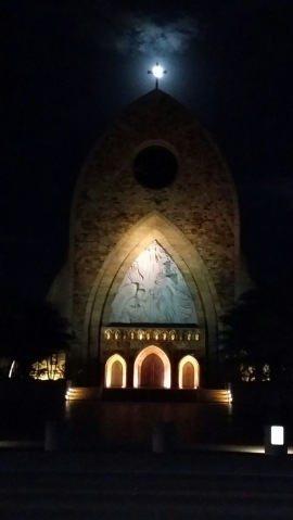 Full moon rises over the Ave Maria Oratory on November 24, 2015. Photo by Michael Pakaluk.